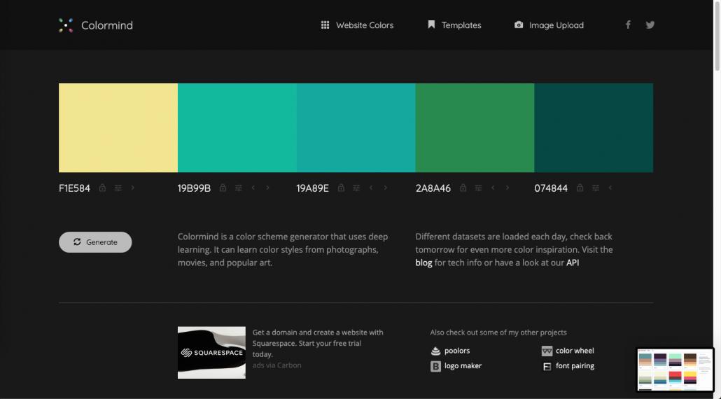 Sélecteur de couleurs pour création de sites internet
