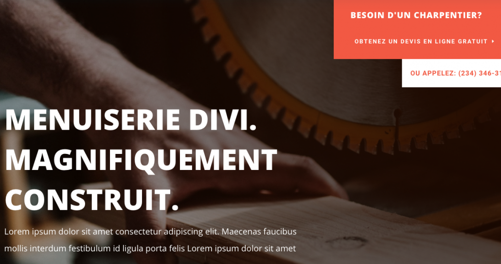 Landing page site menuisier oise