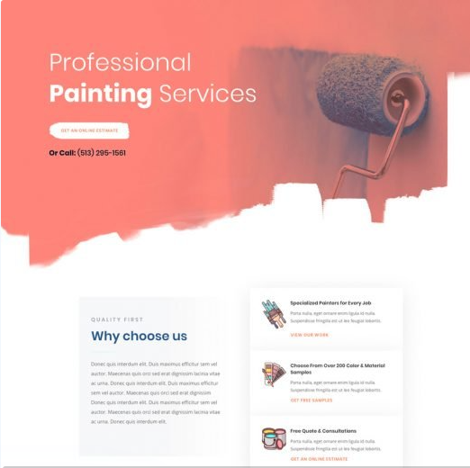 landing page pour artisan peintre